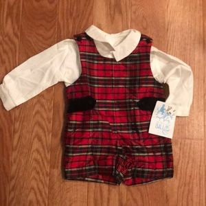 Luli & Me silk and cotton 2pc Holiday overall